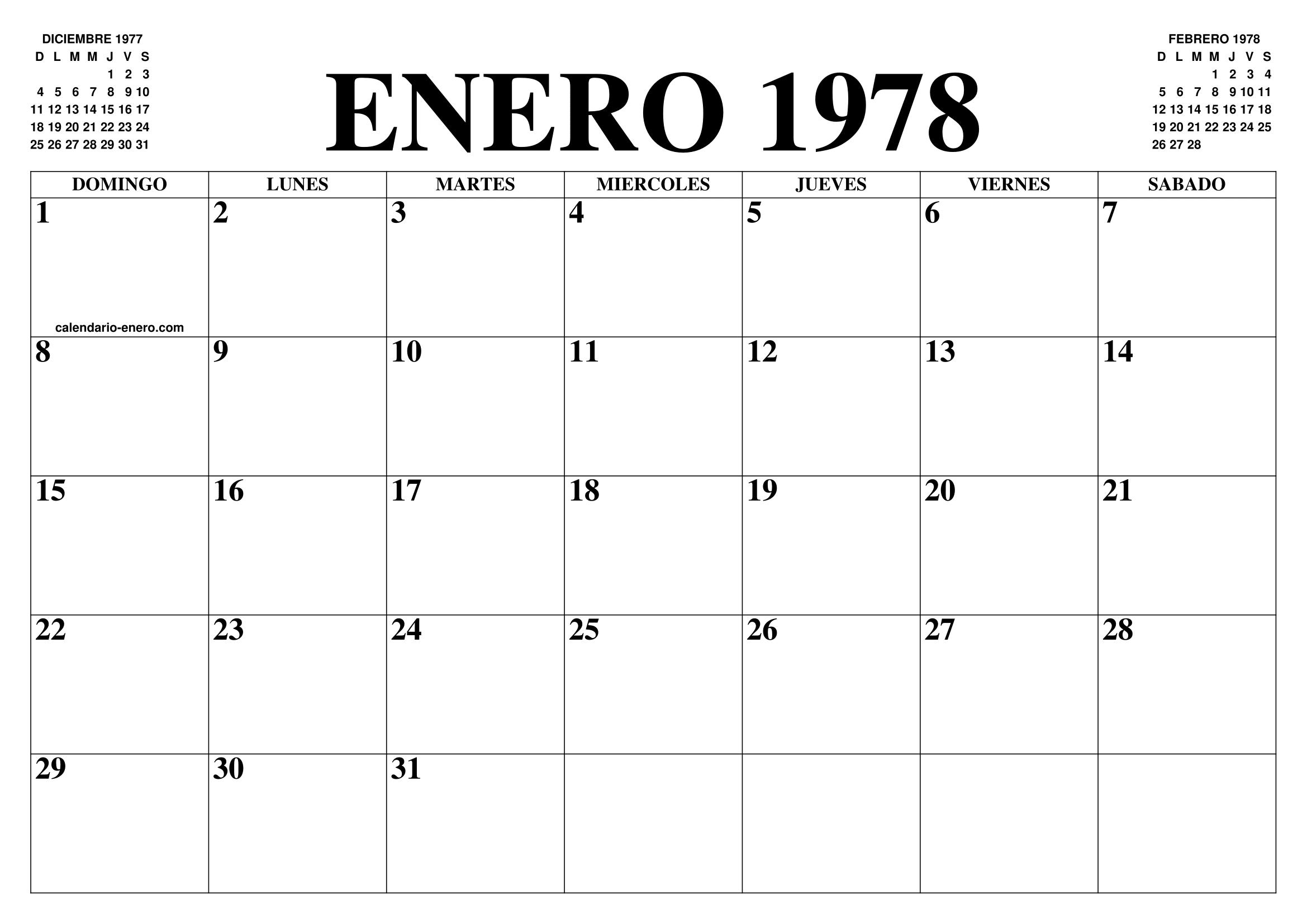 Calendario Enero 1978.Calendario Enero 1978 El Calendario Enero Para Imprimir