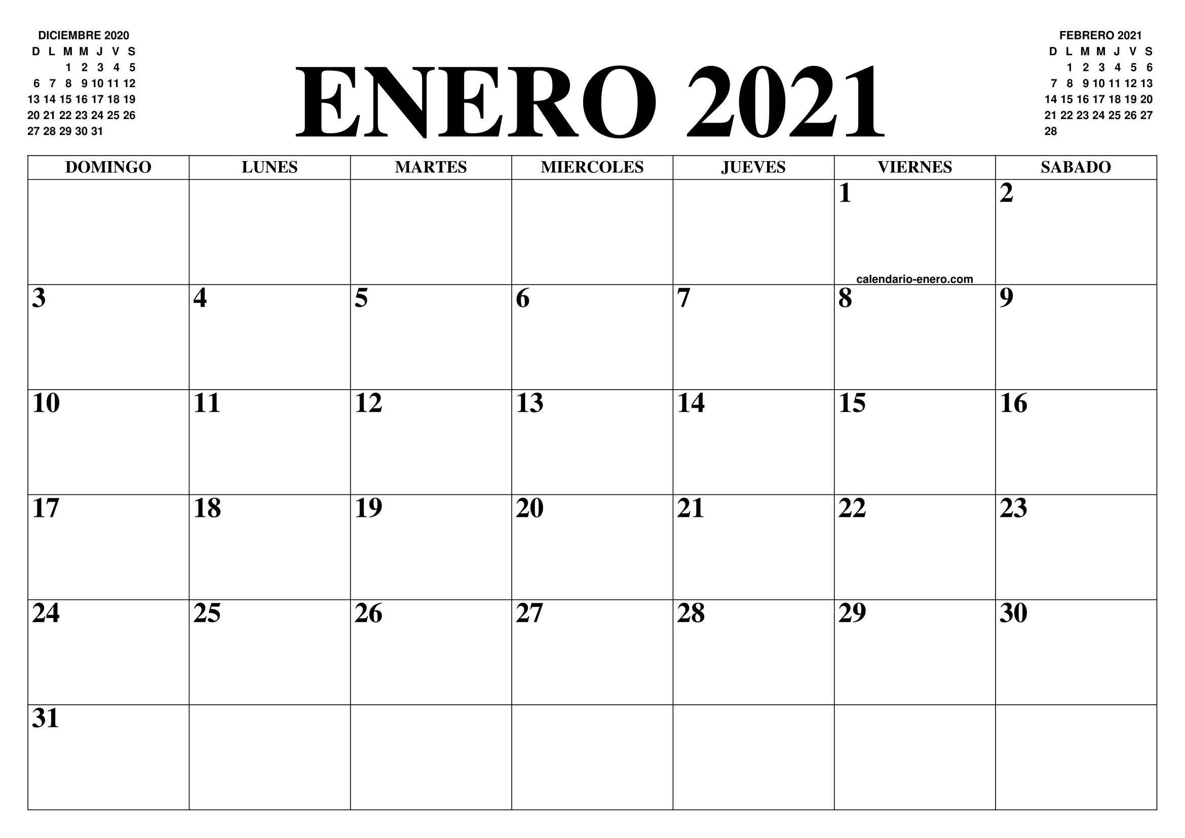 Calendario Diciembre 2020 Para Imprimir.Calendario Enero 2021 El Calendario Enero Para Imprimir Gratis